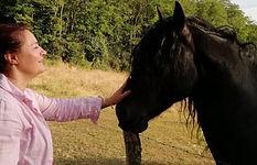 cheval frison et Rita.JPG