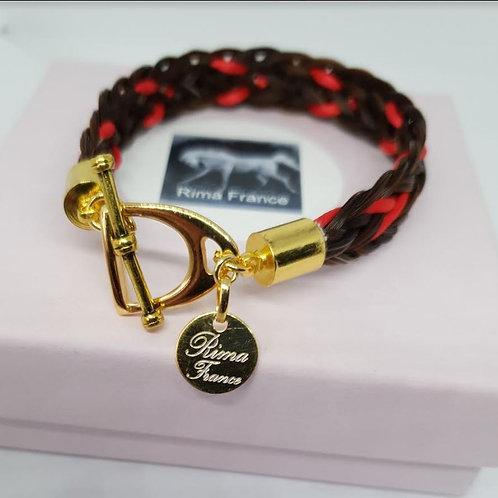 Bracelet ETRIER marron avec ruban de soie rouge