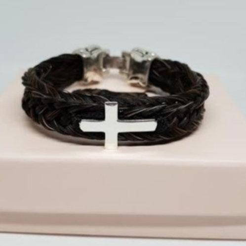 Bracelet en crins marron CROIX