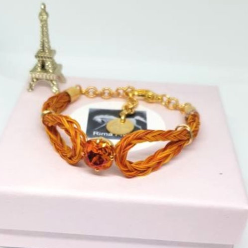 Bracelet en crin tressé orange PRINCESSE