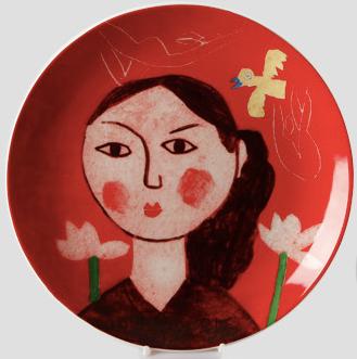 이왈종 원형그림접시 여인상