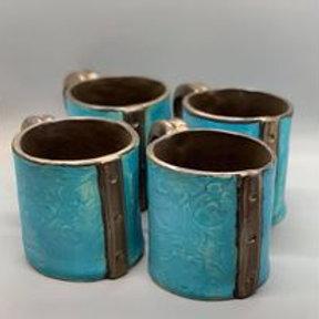 turquoise LEATHER Mugs
