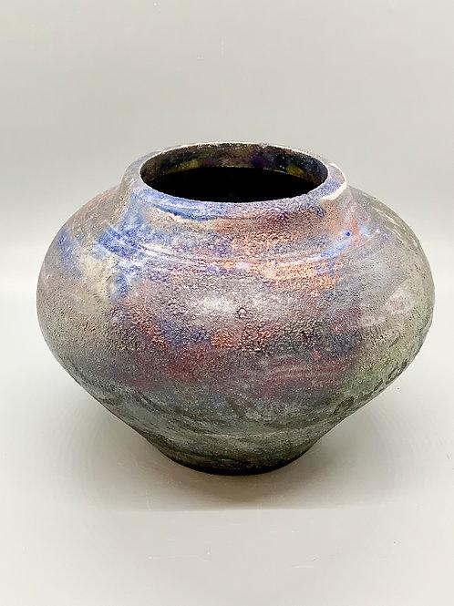 Raku BEAUTIFUL Blue / Copper VASE