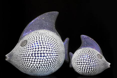 Blue chameleon moon fish duo