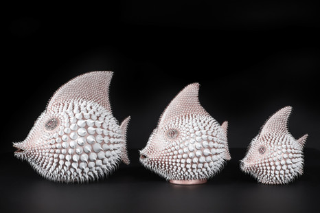 Pearly pink moon fish trio