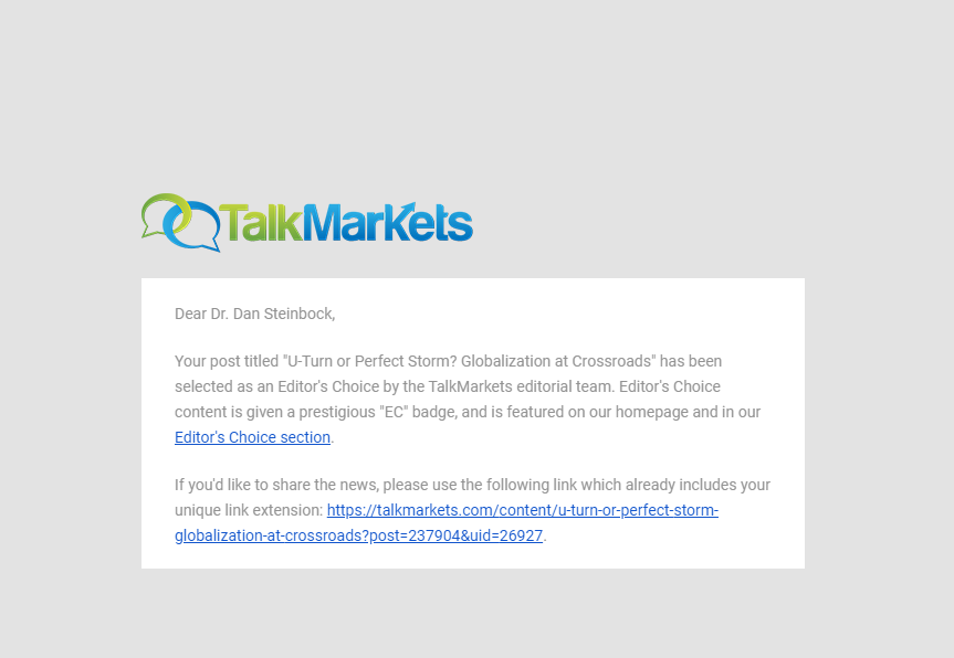 TalkMarket's Editor's Choice