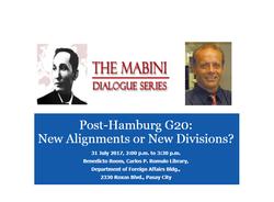 Post-Hamburg G20 (Mabini Dialogue)