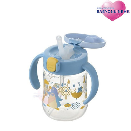 Richell TLI 吸管式水杯200ML (7M+) - 粉藍小企鵝