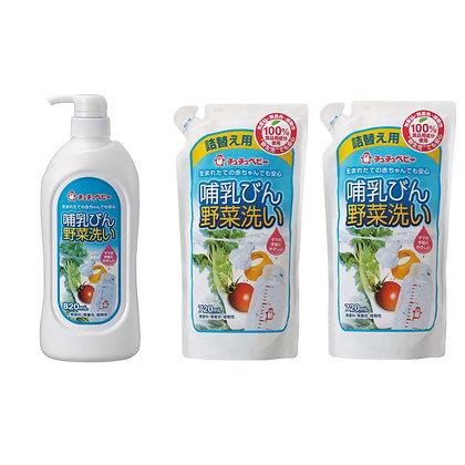 Chu Chu 奶樽蔬菜清潔液 820ml + 720ml x 2包