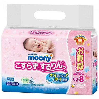 Unicharm Moony 嬰兒加厚超柔水份濕紙巾 60 x 8包