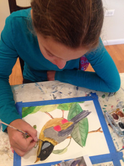 Julia Bober working on her watercolor