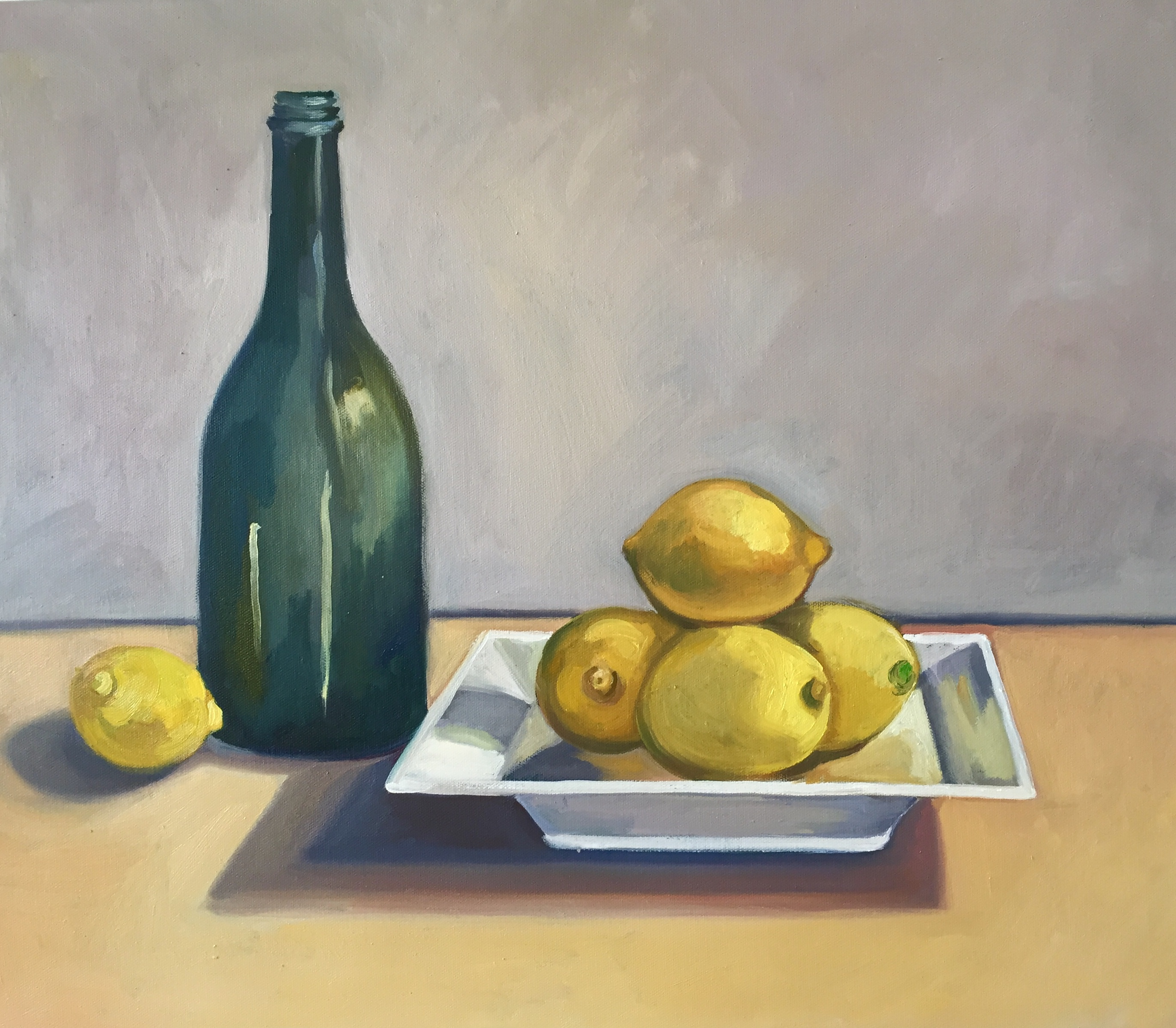 Green Bottle with Lemons