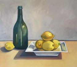 Green Bottle with Lemons