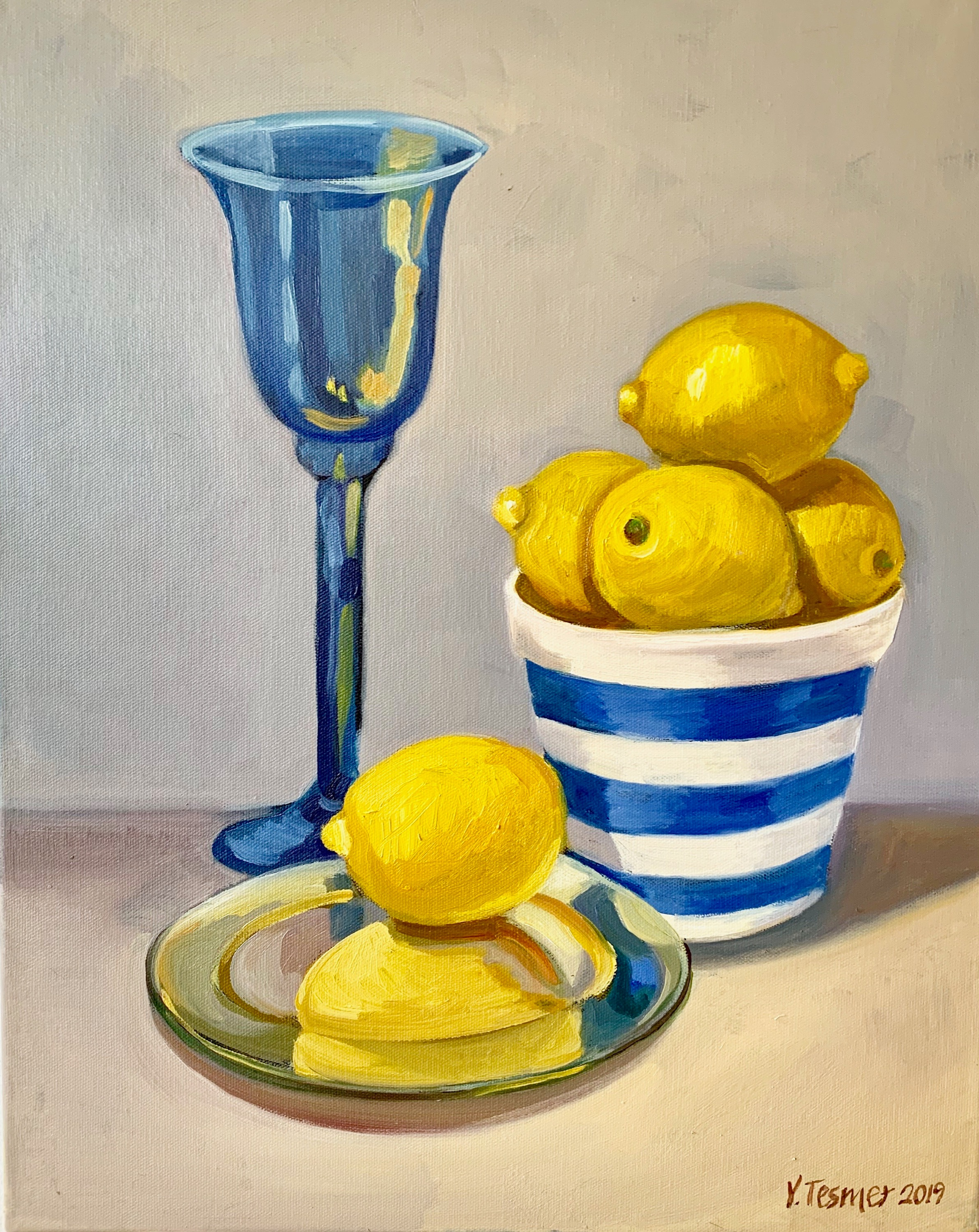 Blue Goblet with Lemons