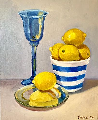 Blue Goblet with Lemons