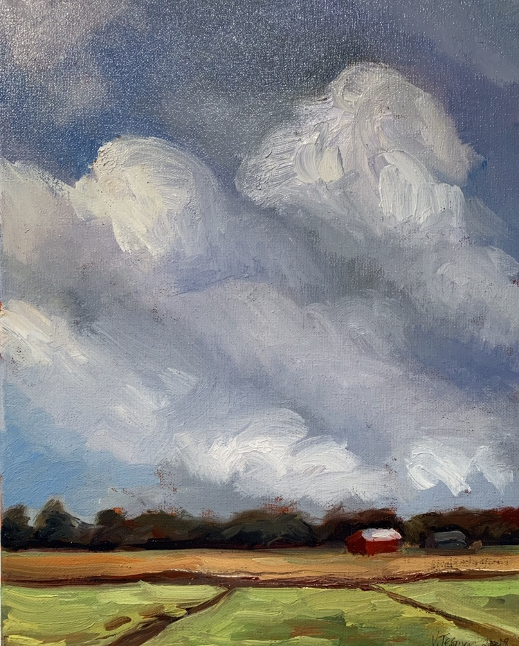 Big Sky With Red Barn