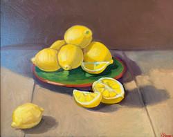 Lemons on Green Plate