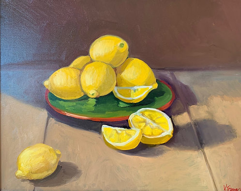 Lemons on Green Plate