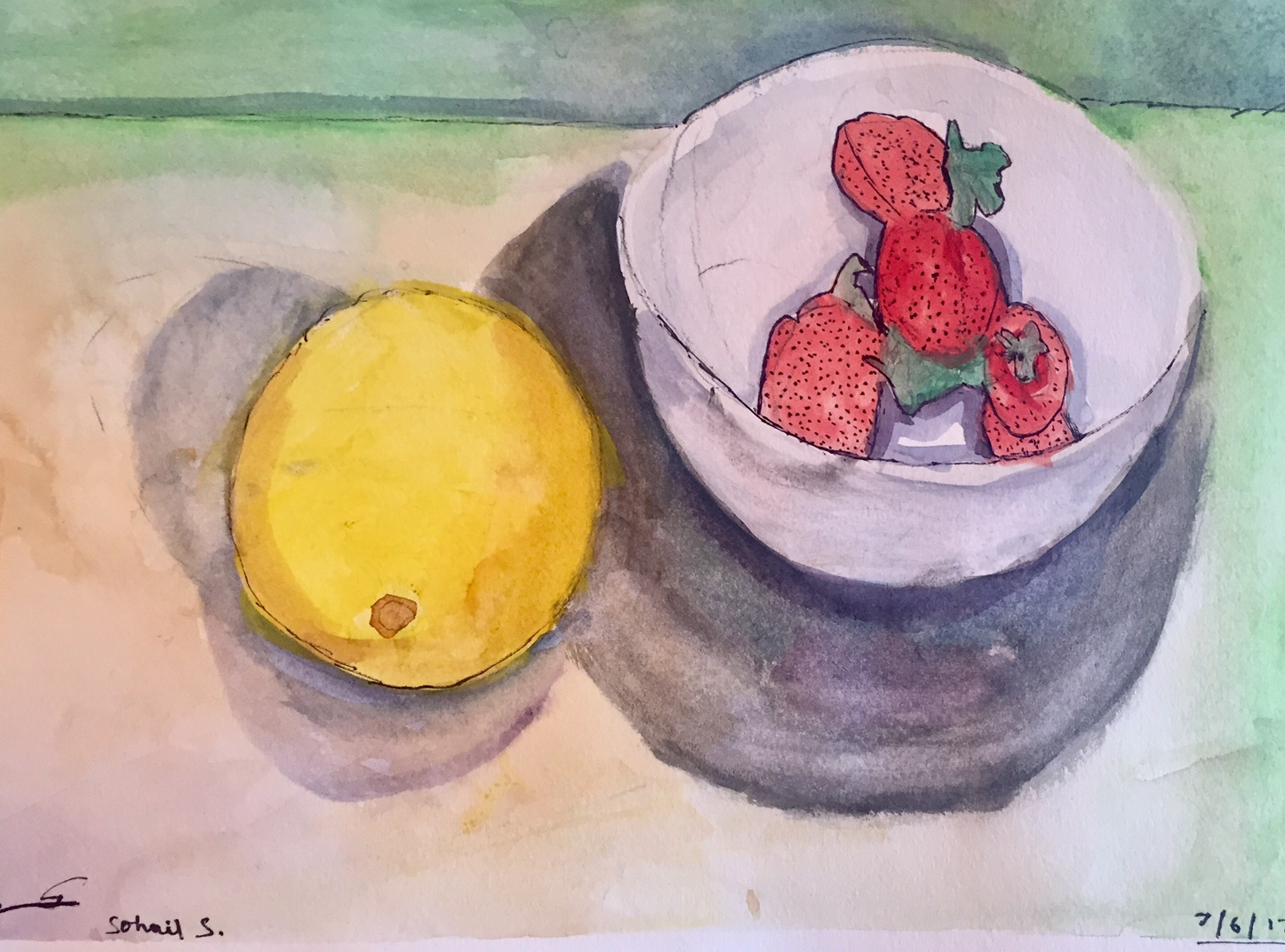 Still Life Lemons and Strawberries