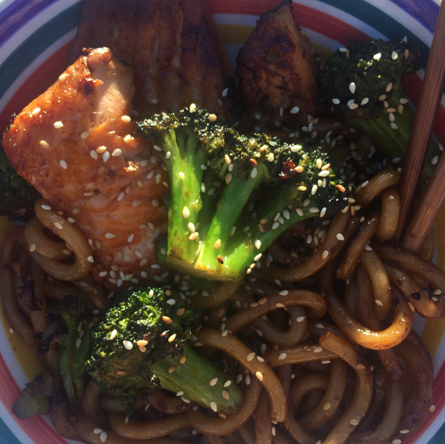 Salmon and Brocc with Udon