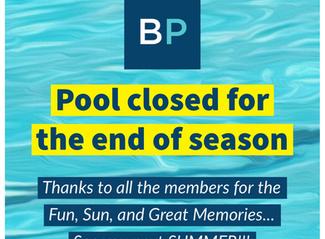Pool closed, End of Season