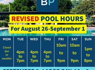 Pool Hours, Aug. 26-Sep. 2