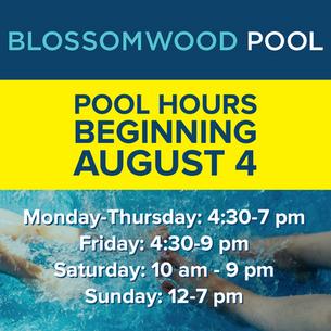 Revised Pool Hours, Beginning August 4!