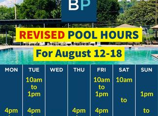 Pool Hours, Aug. 12-18