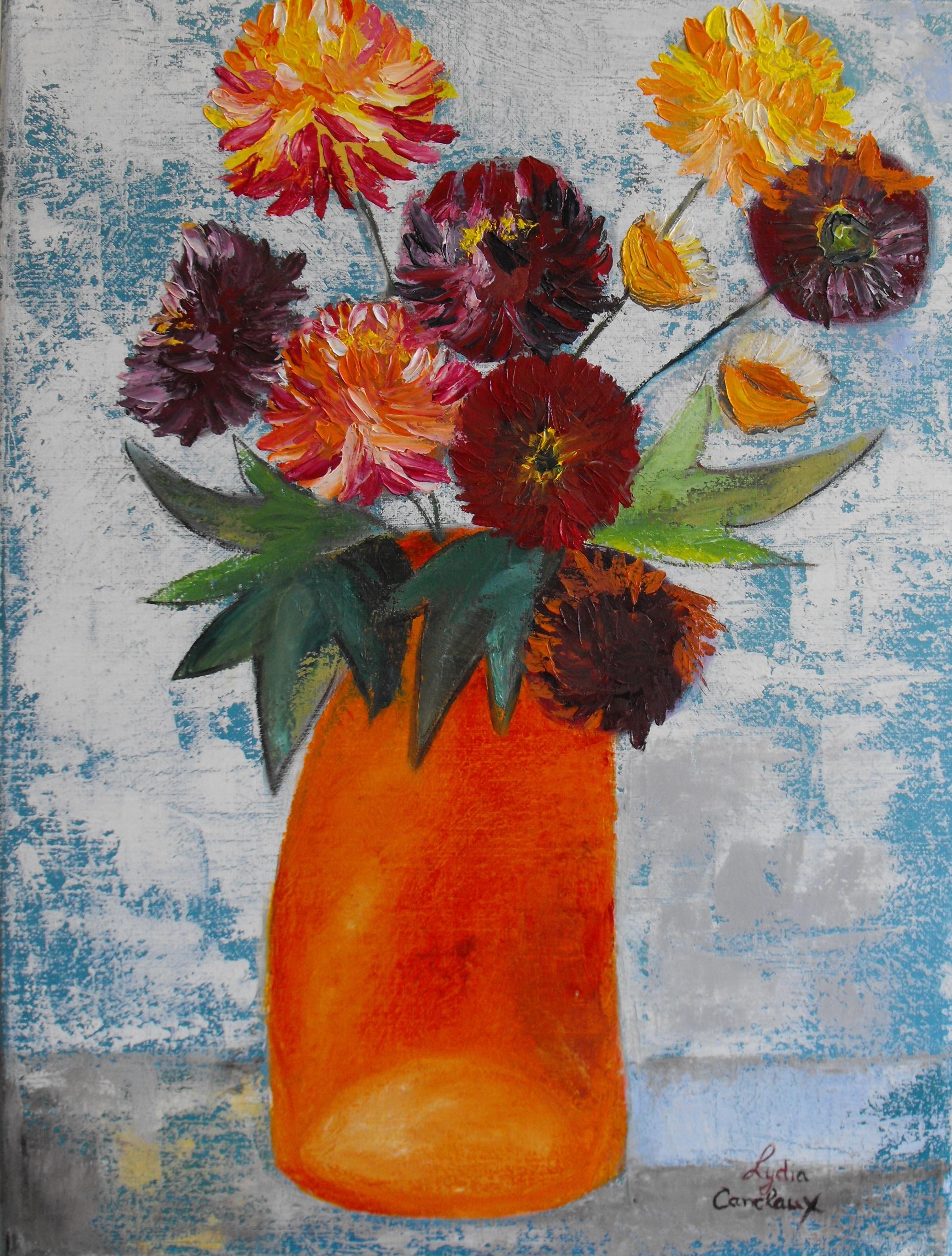 Chrysanthèmes - Huile et coutaux sur toi