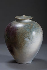 Saggar fired lidded jar