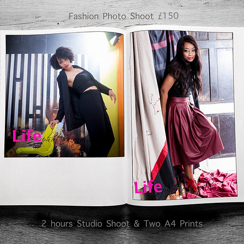 Fashion Shoot for All. 2 hours  includes 2xA4 Prints