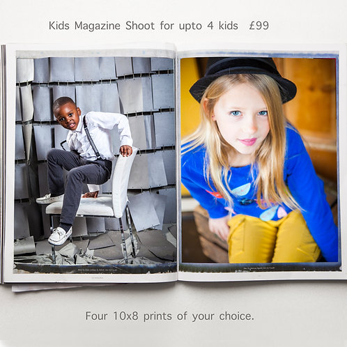 """Kids Magazine Shoot For up to 4 Children, Includes 4  10x8"""" Prints"""