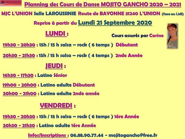 Planning des cours L'UNION 2020 - 2021.j