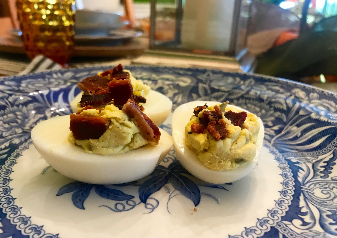 Deviled Eggs Topped with Bacon