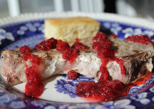 Pork Chops with Satsuma/Cranberry Sauce