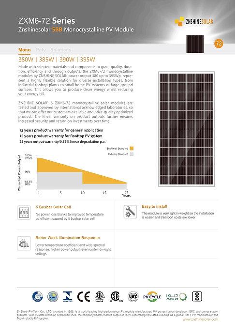 ZNShine SolarvBranded Modules 5BB Black Monocrystalline PV Module, 395W