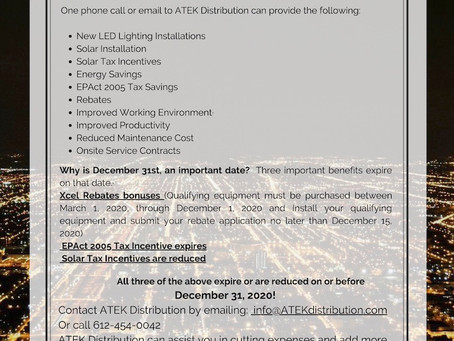 ATEK Distribution saves you money with Lighting Upgrades and Solar Installations.