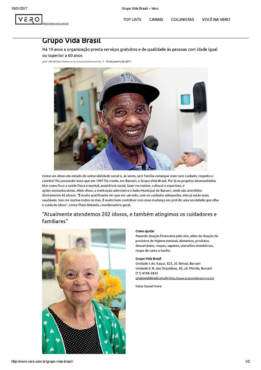 Grupo Vida Brasil na Revista Vero