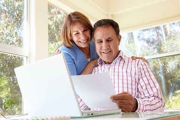 couple looking at retirement plans