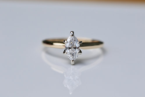 MARQUISE CUT SOLITAIRE DIAMOND ENGAGEMENT RING YELLOW GOLD