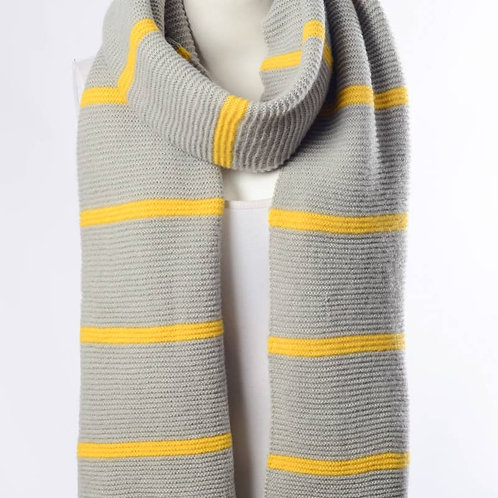 Grey and Yellow Striped Scarf