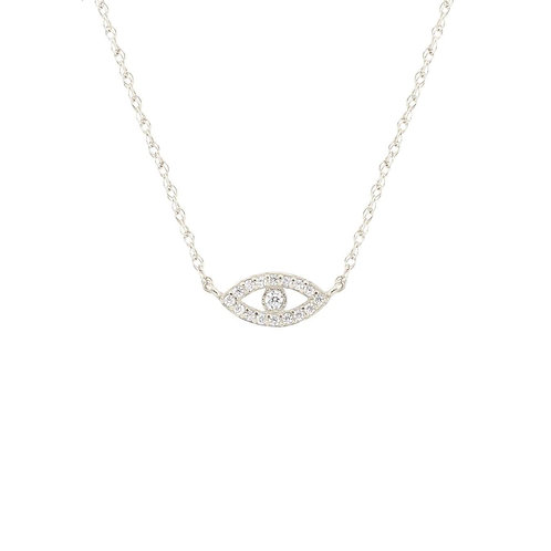 Sterling Silver Pave Third Eye Necklace