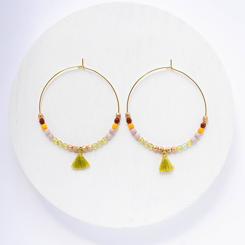 Large Hoops with Tiny Green Tassel