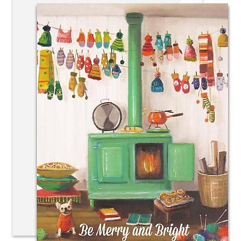 "Janet Hill ""The Knitter"" Holiday Cards set of 8"