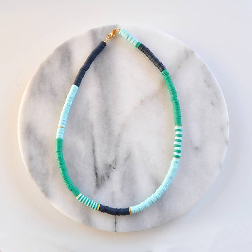 Navy and Kelly Green Heishi Bead Necklace