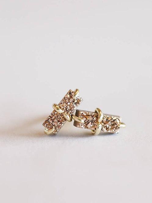 Rose Gold Druzy Bar Earrings