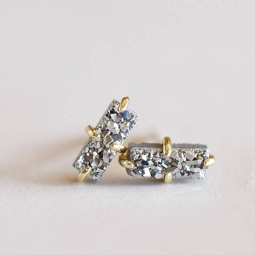 Silver Druzy Bar Earrings