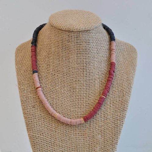 Rust and Camel Heishi Bead Necklace