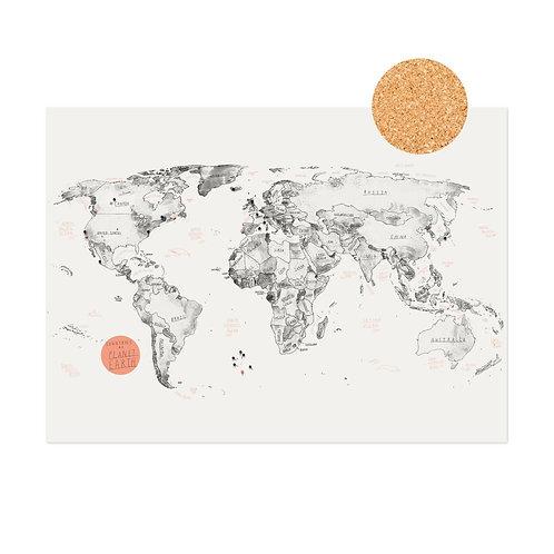 World Map + Pins on Cork