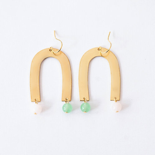 Colorful Brass and Bead Earrings